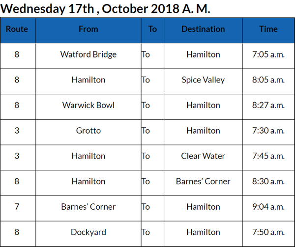 Bus Cancellations Bermuda Oct 17 2018 AM