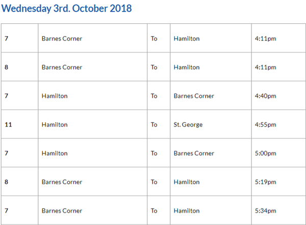 Bus Cancellations PM October 3 2018