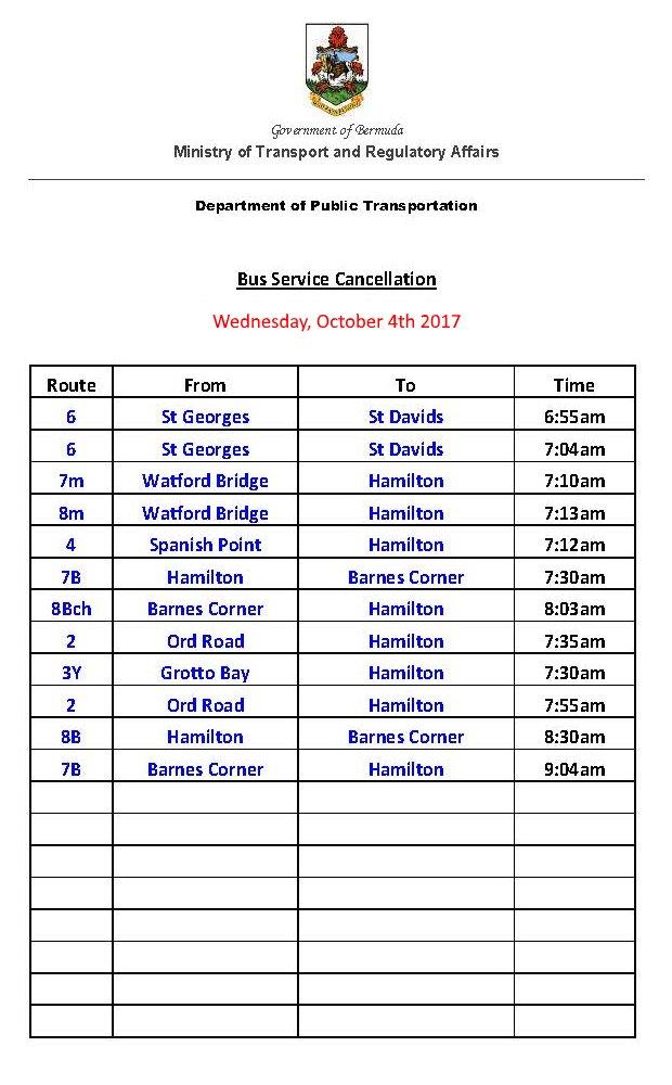 Bus Service Cancellation List Oct 4