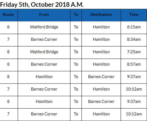Bus cancellations Bermuda Oct 5 2018 AM