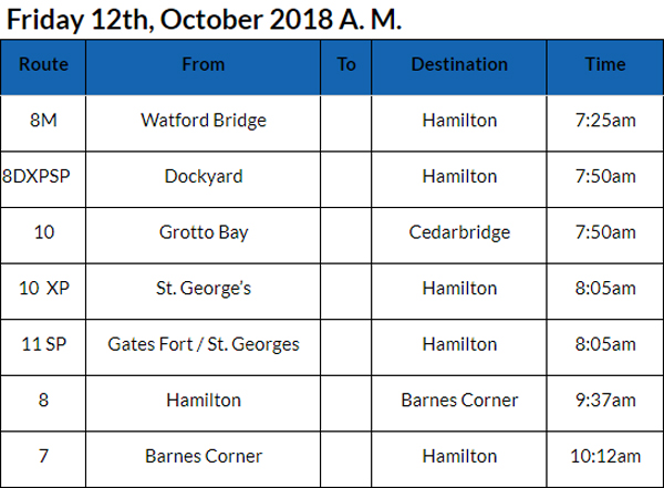 Bus cancellations October 12 2018 AM