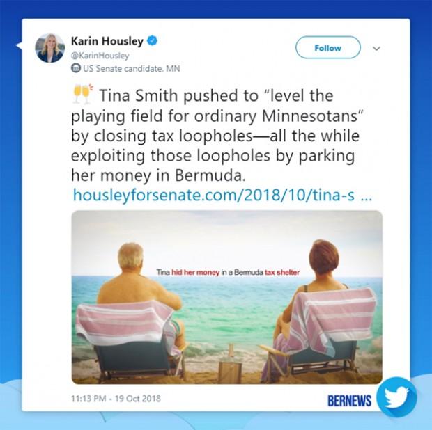 Karin Housley tweet Bermuda Oct 19 2018