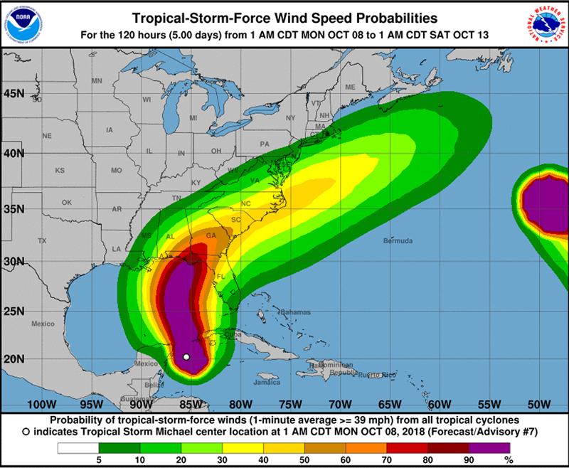 Tropical Storm Michael Bermuda October 8 2018 NHC