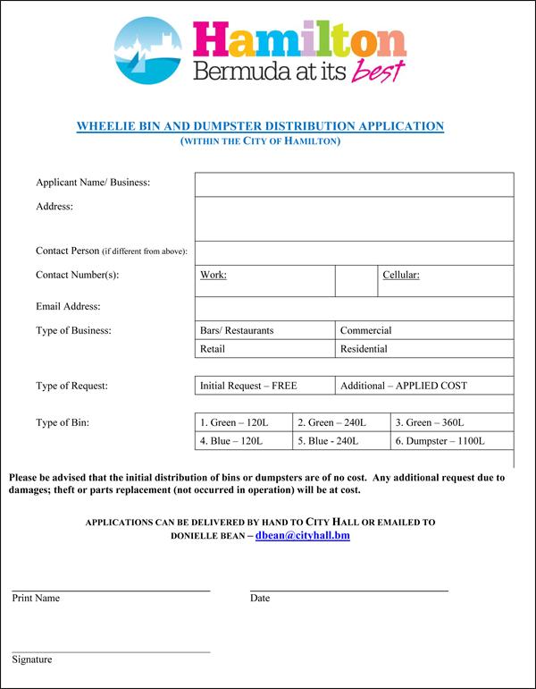 Wheelie Bin and Dumpster Application Bermuda Oct 2018