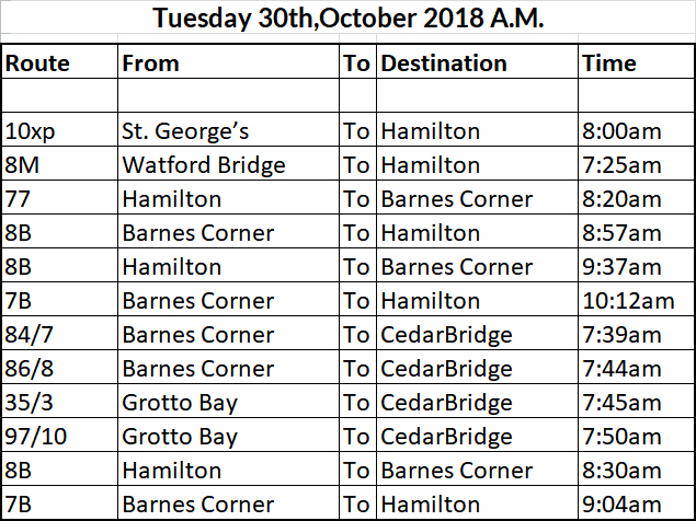 bus cancellations AM Oct 30 2018