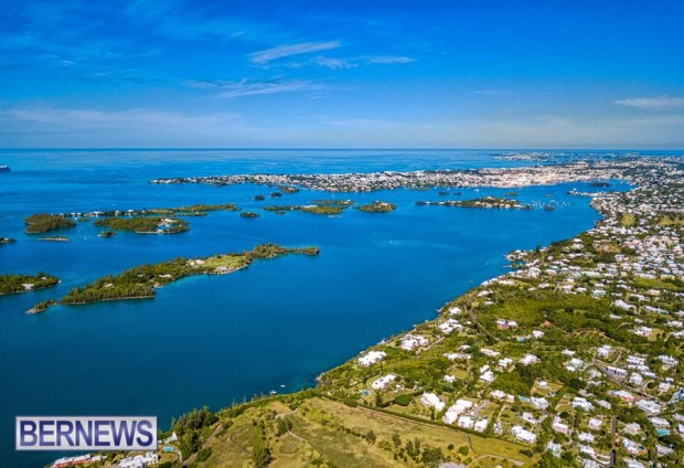 100 A beautiful aerial view of Hamilton on a Bermudaful day