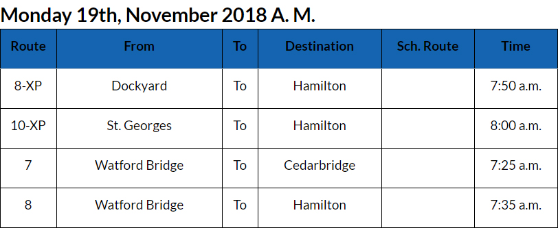 Bus Cancellations Bermuda Nov 19 2018 AM