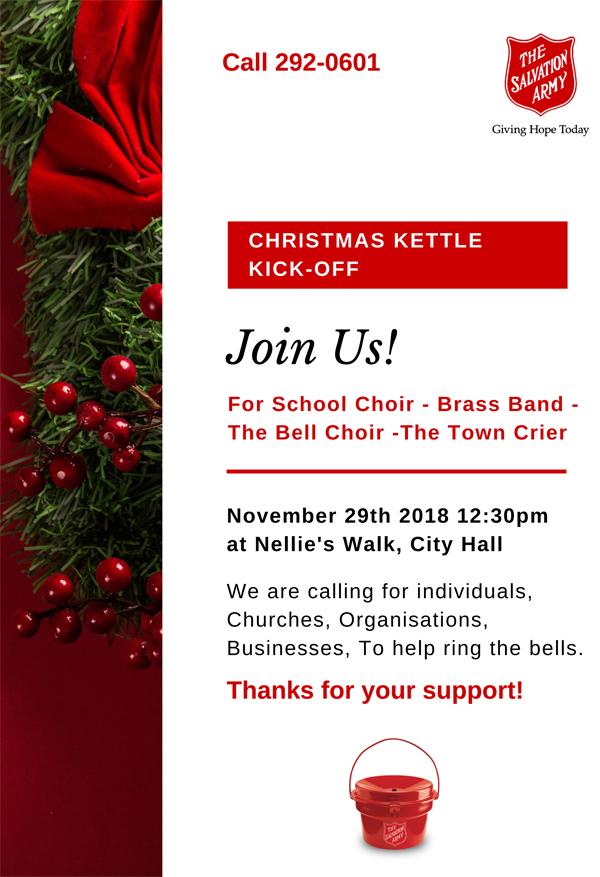 Salvation Army Christmas Kettle Kick-Off Nov. 29th 2018
