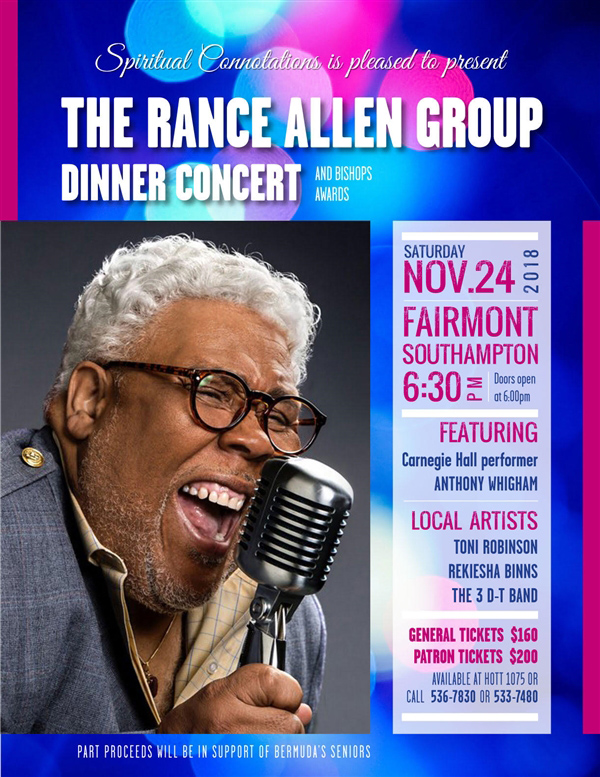The Rance Allen Group Dinner Concert Bermuda Nov 2018