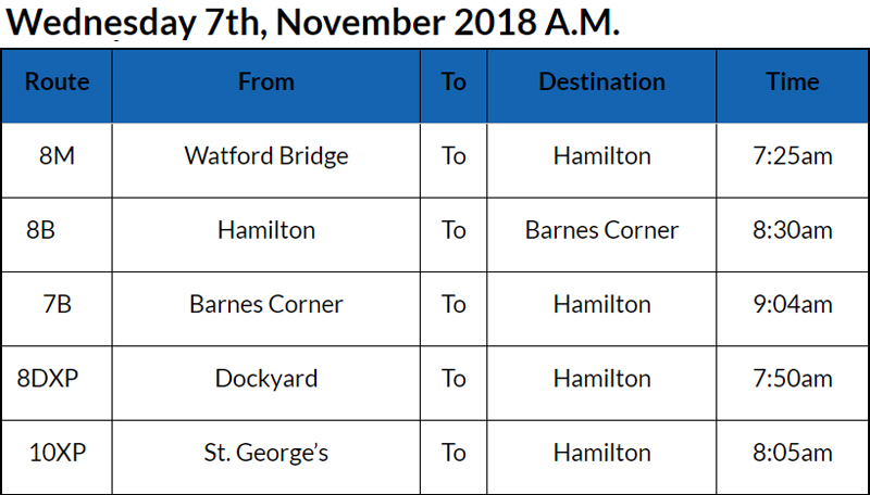 bus cancellations AM Bermuda Nov 7 2018