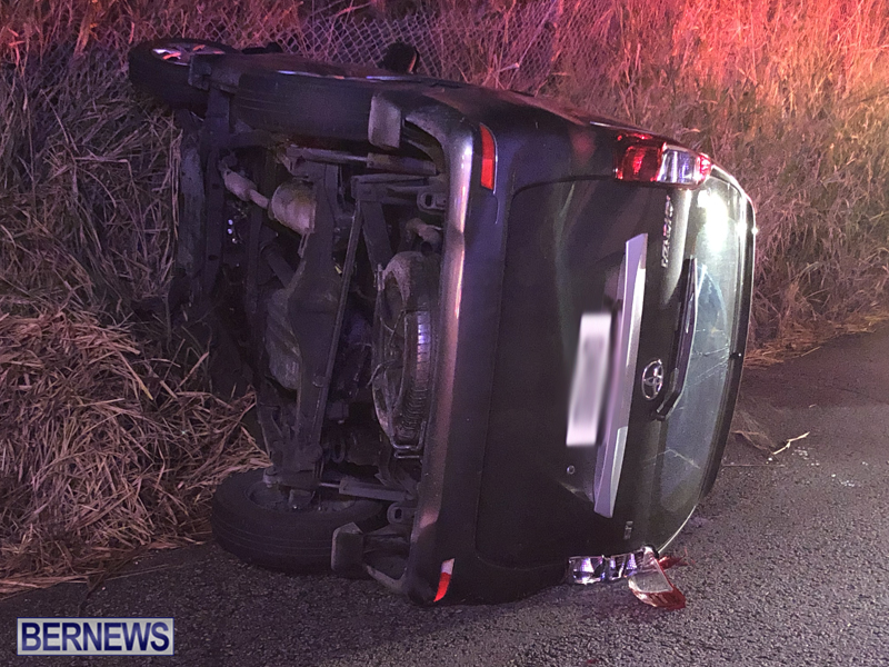 car overturned Bermuda Nov 11 2018 2