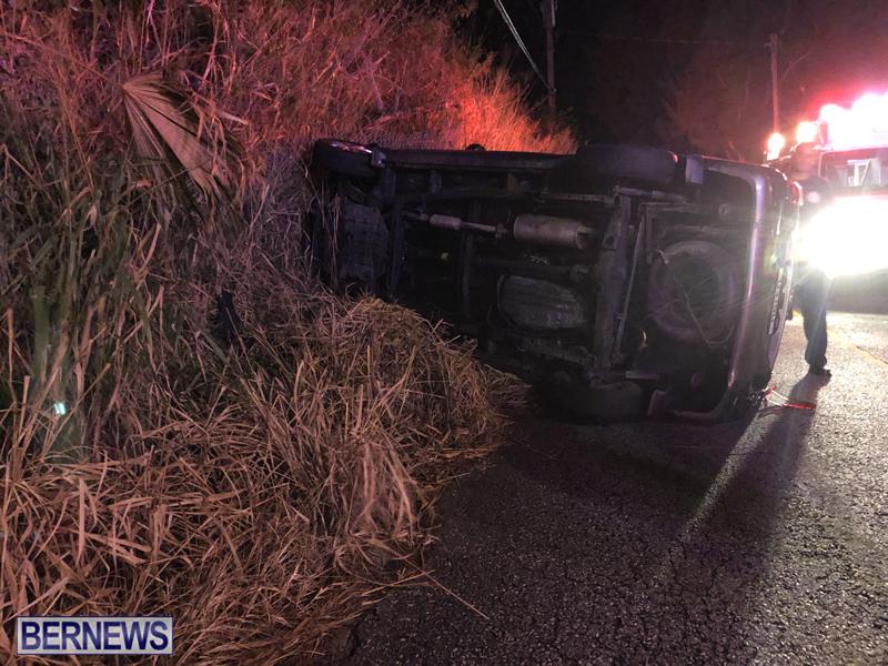 car overturned Bermuda Nov 11 2018 4