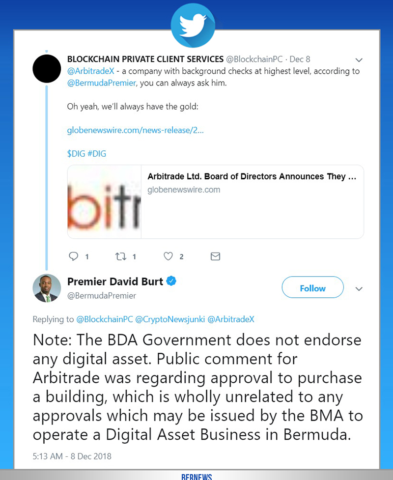 Premier David Burt tweet Bermuda Dec 7 2018