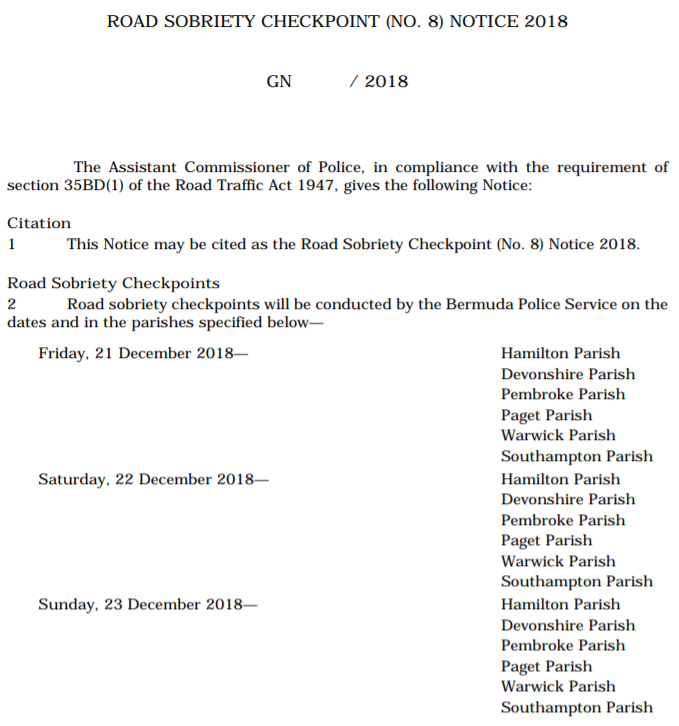 Road Sobriety Checkpoint [No. 8] Notice 2018