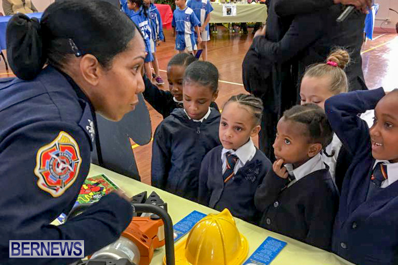 Bermuda Fire and Rescue Service demonstration at Elliot Primary School Careers Day, January 24 2019-05-2