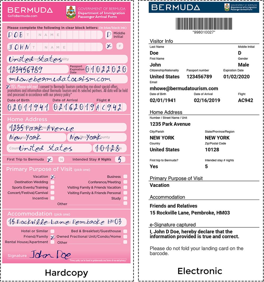 Digital Visitor Arrival Form Visual Bermuda Jan 31 2019