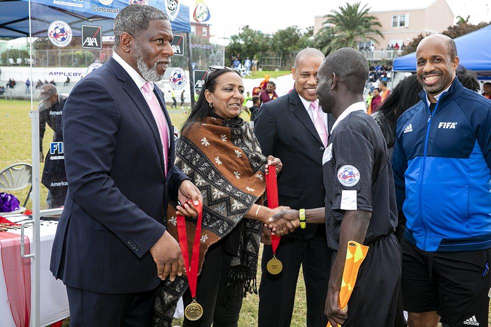 New Years Day Football Premier David Burt Minister Lovitta Foggo Bermuda, January 1 2019 (1)