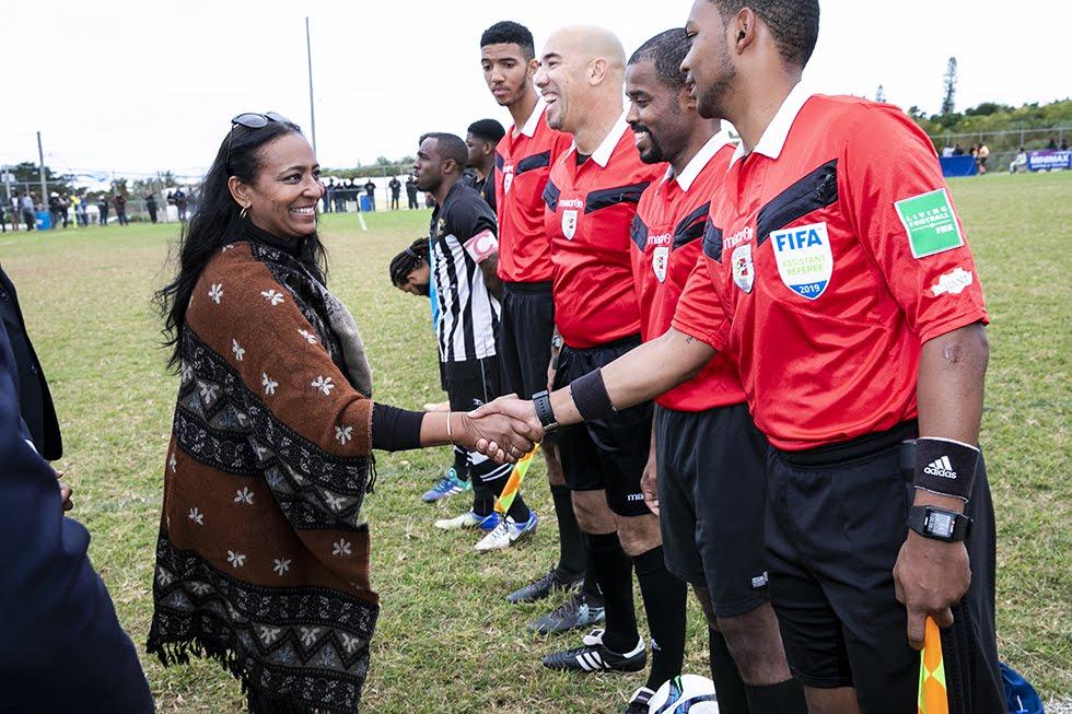 New Years Day Football Premier David Burt Minister Lovitta Foggo Bermuda, January 1 2019 (5)
