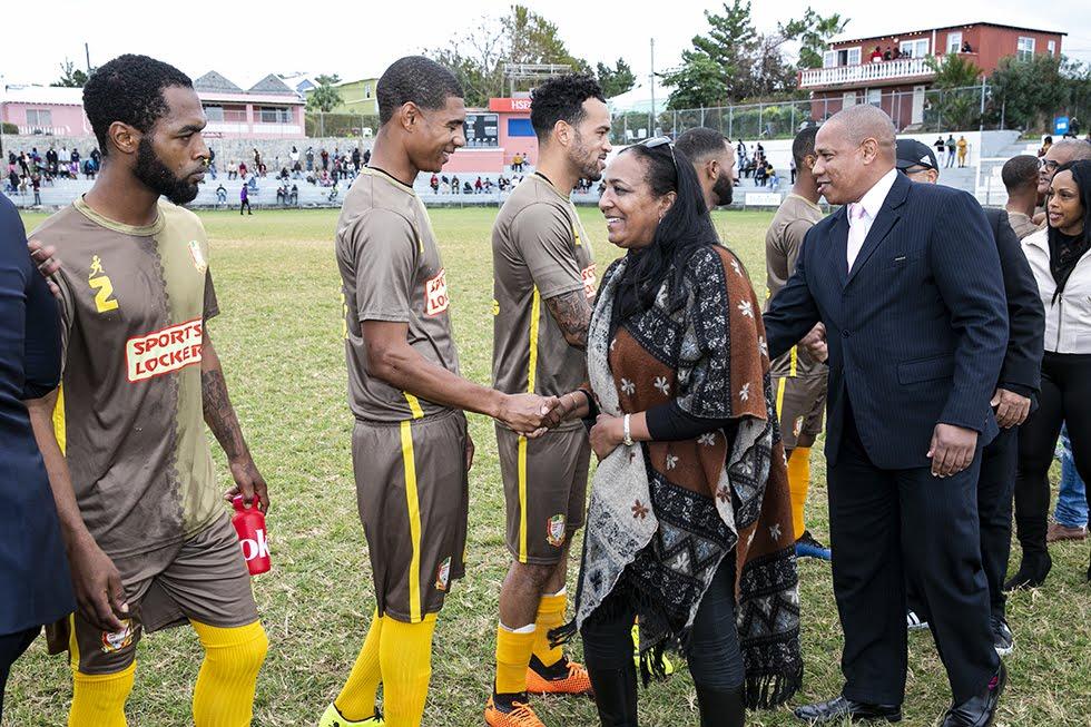 New Years Day Football Premier David Burt Minister Lovitta Foggo Bermuda, January 1 2019 (6)
