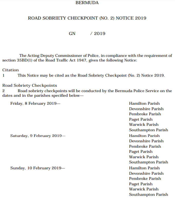 Road Sobriety Checkpoint Notice (No 2) 2019