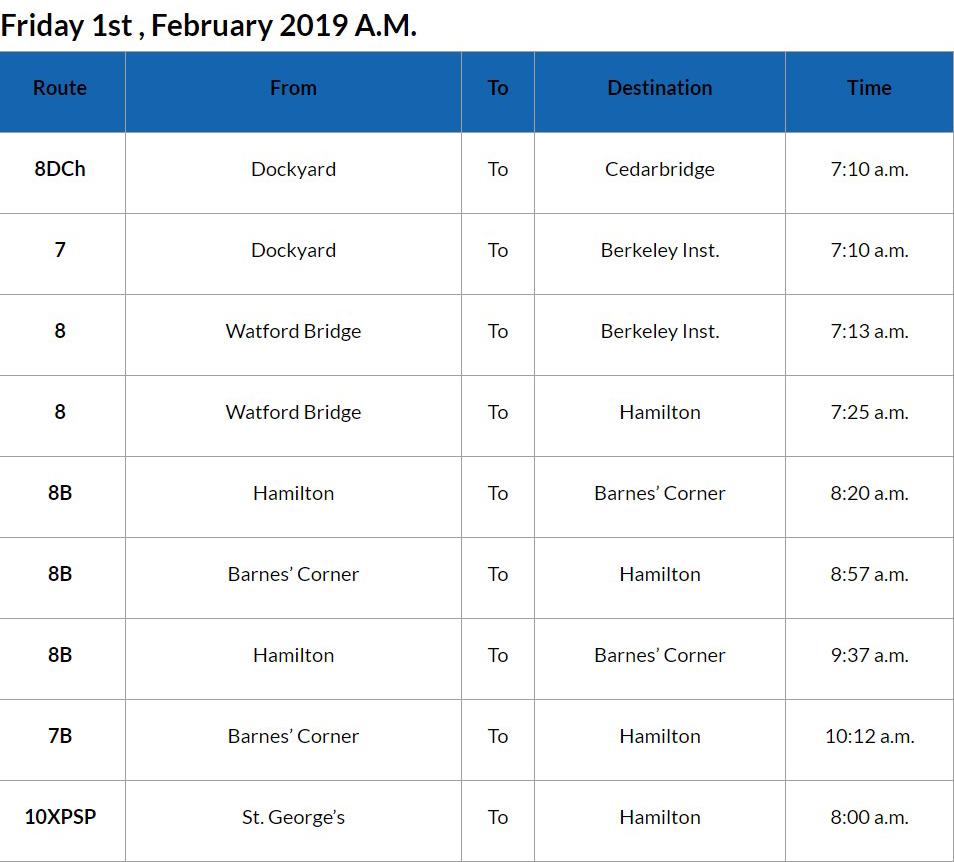 Bus Cancellations AM - Feb 12019
