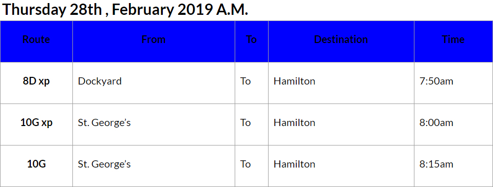 Bus cancellations AM Feb 28 2019