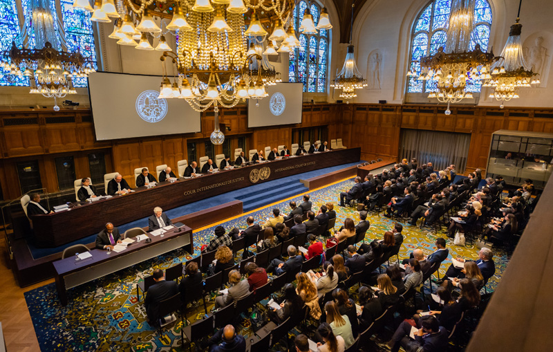 View of the ICJ courtroom on 25 February 2019 (reading of the Advisory Opinion of the Court)