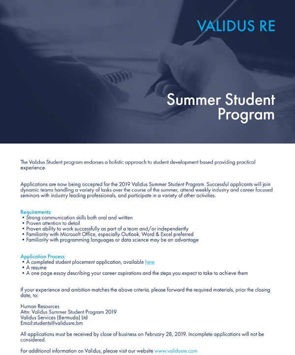 Validus Summer Student Program Bermuda Feb 2019