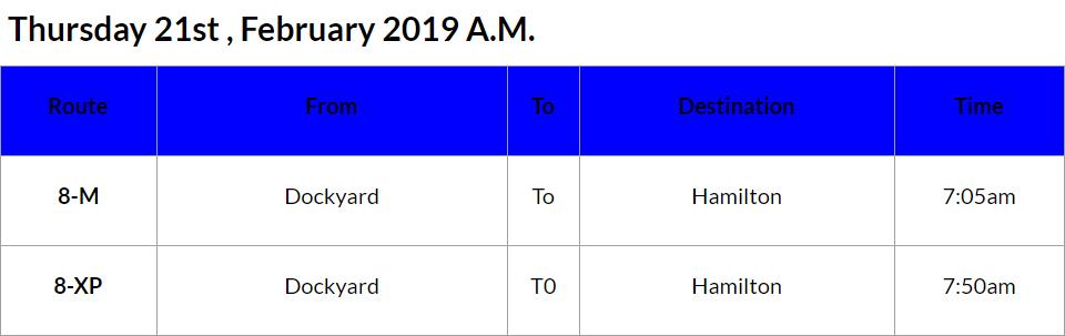 bus cancellations AM - Feb 21 2019