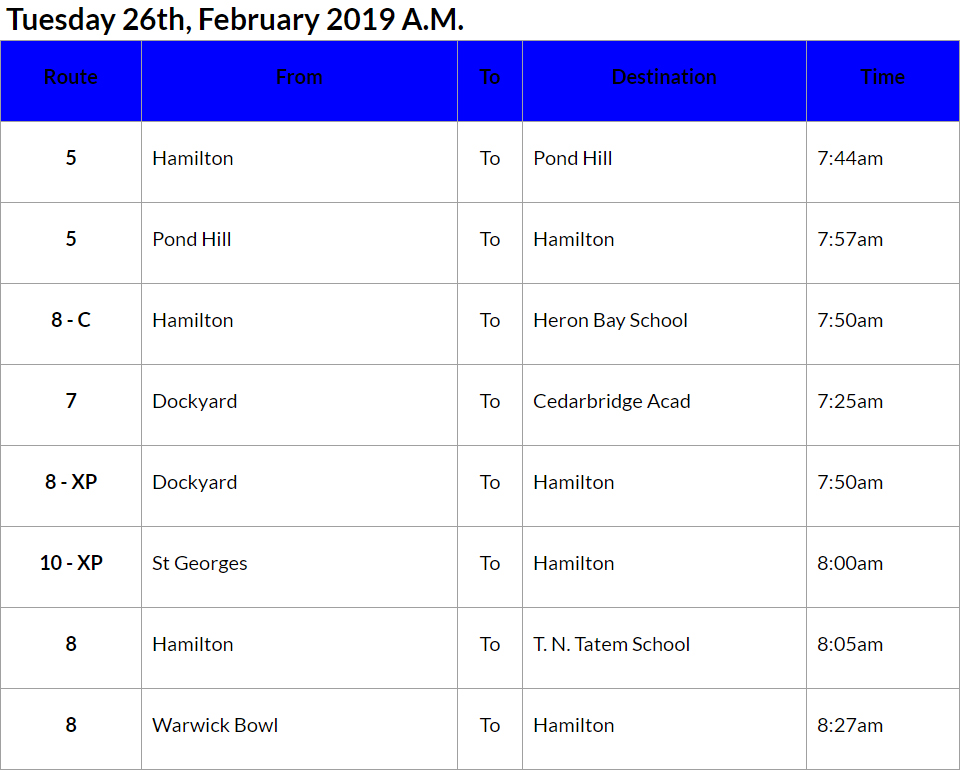 bus cancellations AM - Feb 26 2019