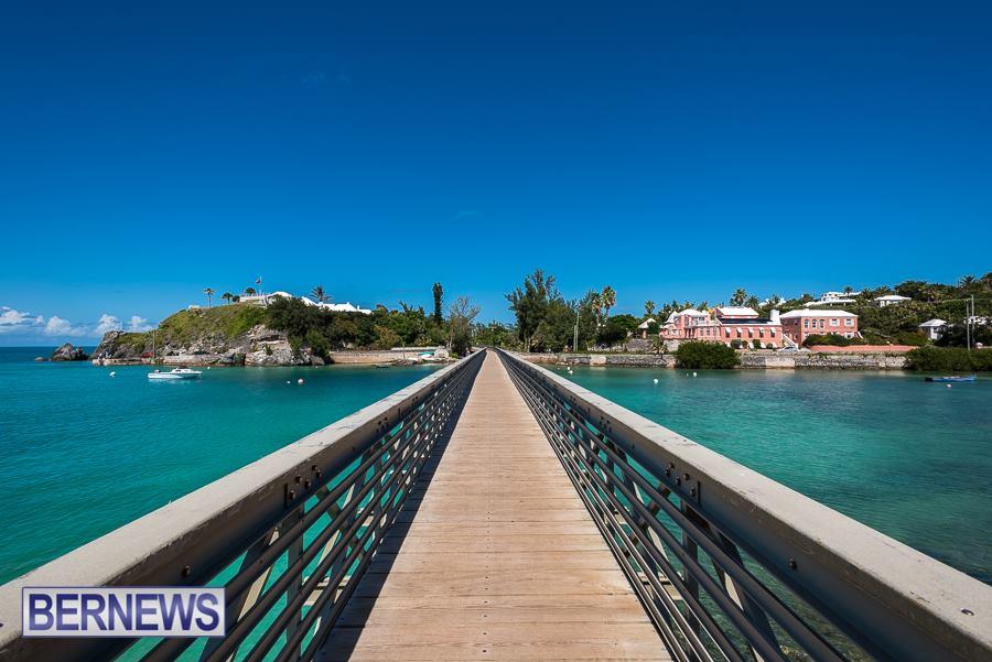 250 A walk across the amazing Bailey's Bay bridge on a blue sky day