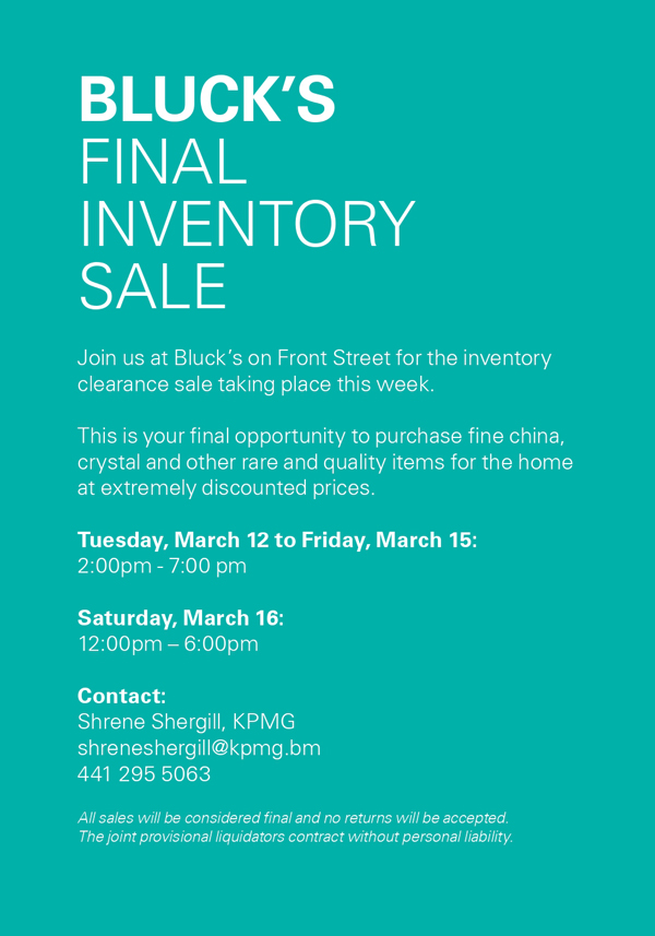 Bluck's Final Sale Bermuda March 2019