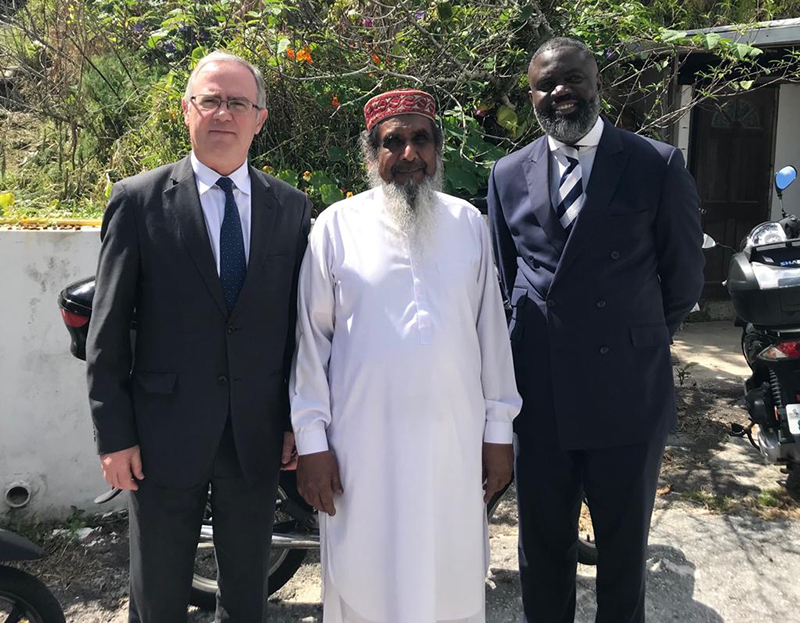 Governor John Rankin, Imam Ashmead Ali, and Minister Wayne Caines Bermuda March 15 2019