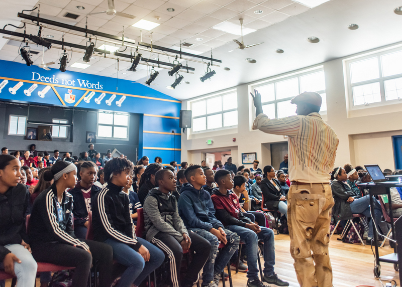 Marcus Samuelsson assembly at Dellwood Middle School, Bermuda March 2019 (1)