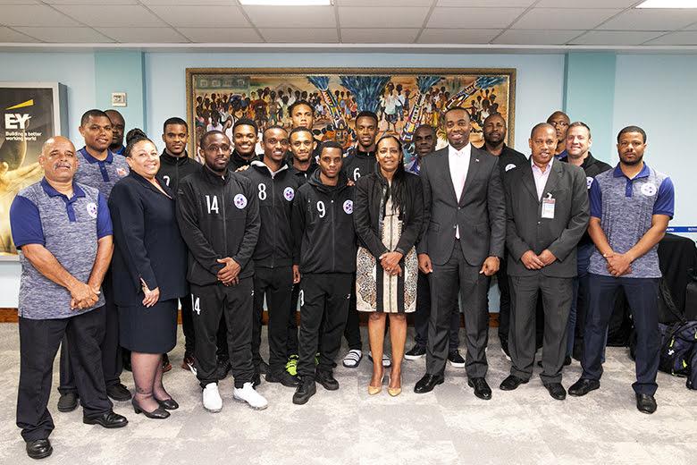 Men's National Football Team Returns Home Bermuda March 2019 (5)