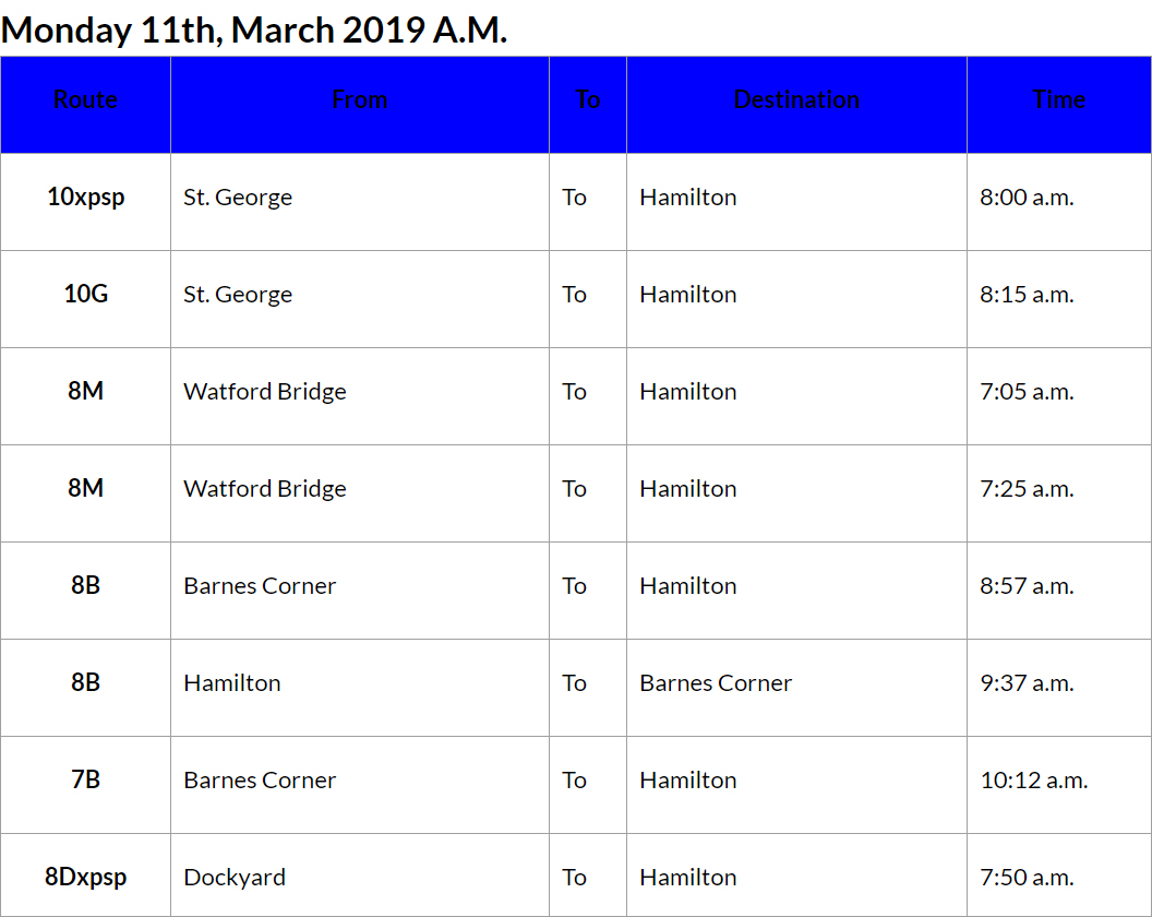 bus cancellations AM - March 11 2019