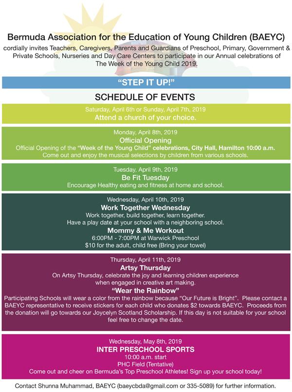 BAEYC Schedule Bermuda April 2019