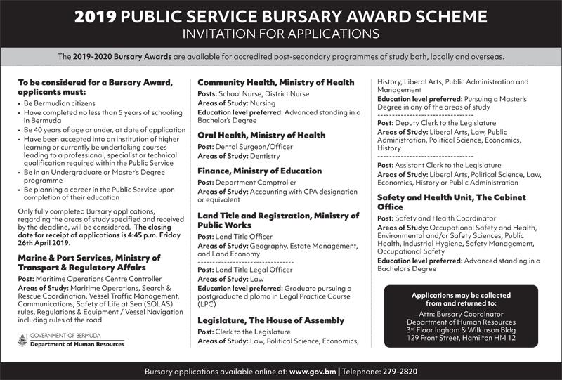 Bursary Award Bermuda April 2019