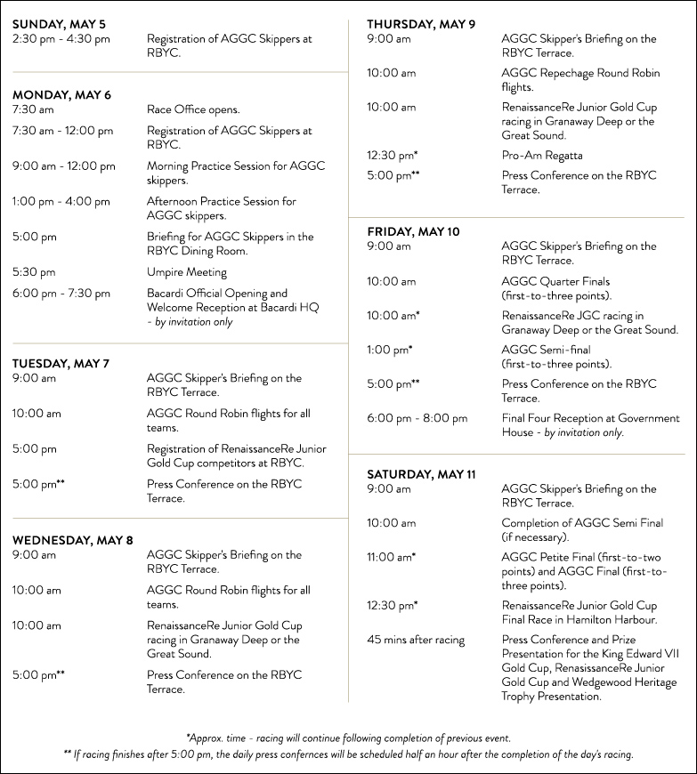 2019 Argo Gold Cup Schedule of Events