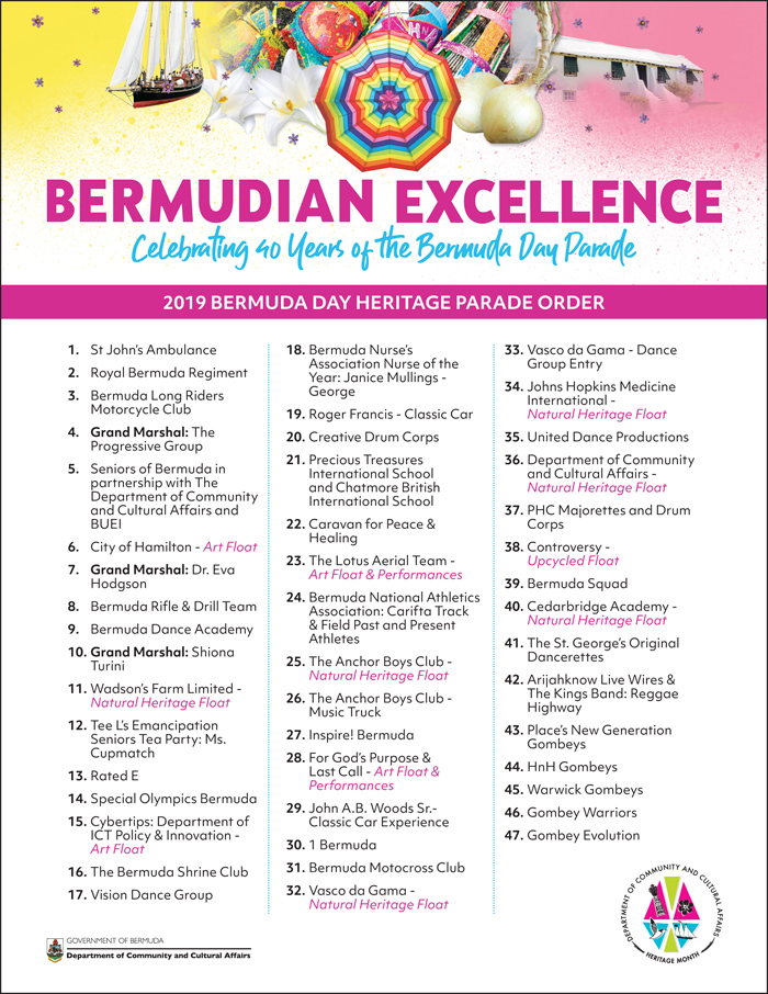 2019 Bermuda Day Parade Order
