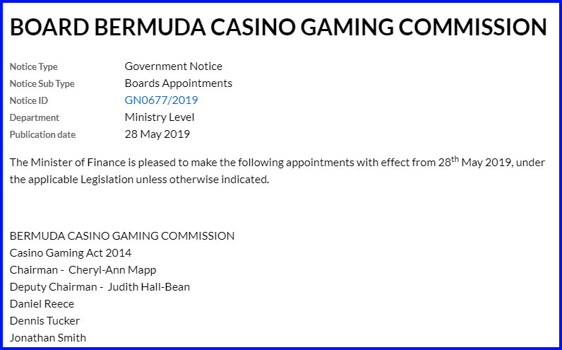 Board Bermuda Casino Gaming Commission