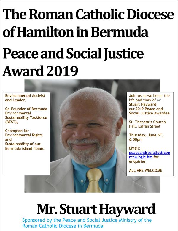 Peace and Social Justice Award 2019 Mr Stuart Hayward
