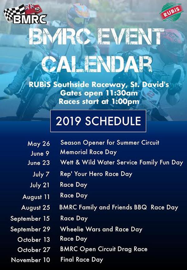 BMRC Race Schedule June 2019