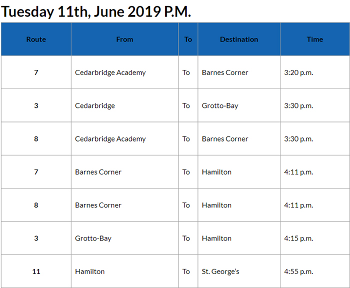 Bus Cancellations PM June 11 2019