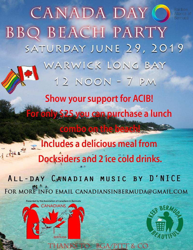 Canada Day BBQ Beach Party Bermuda June 2019