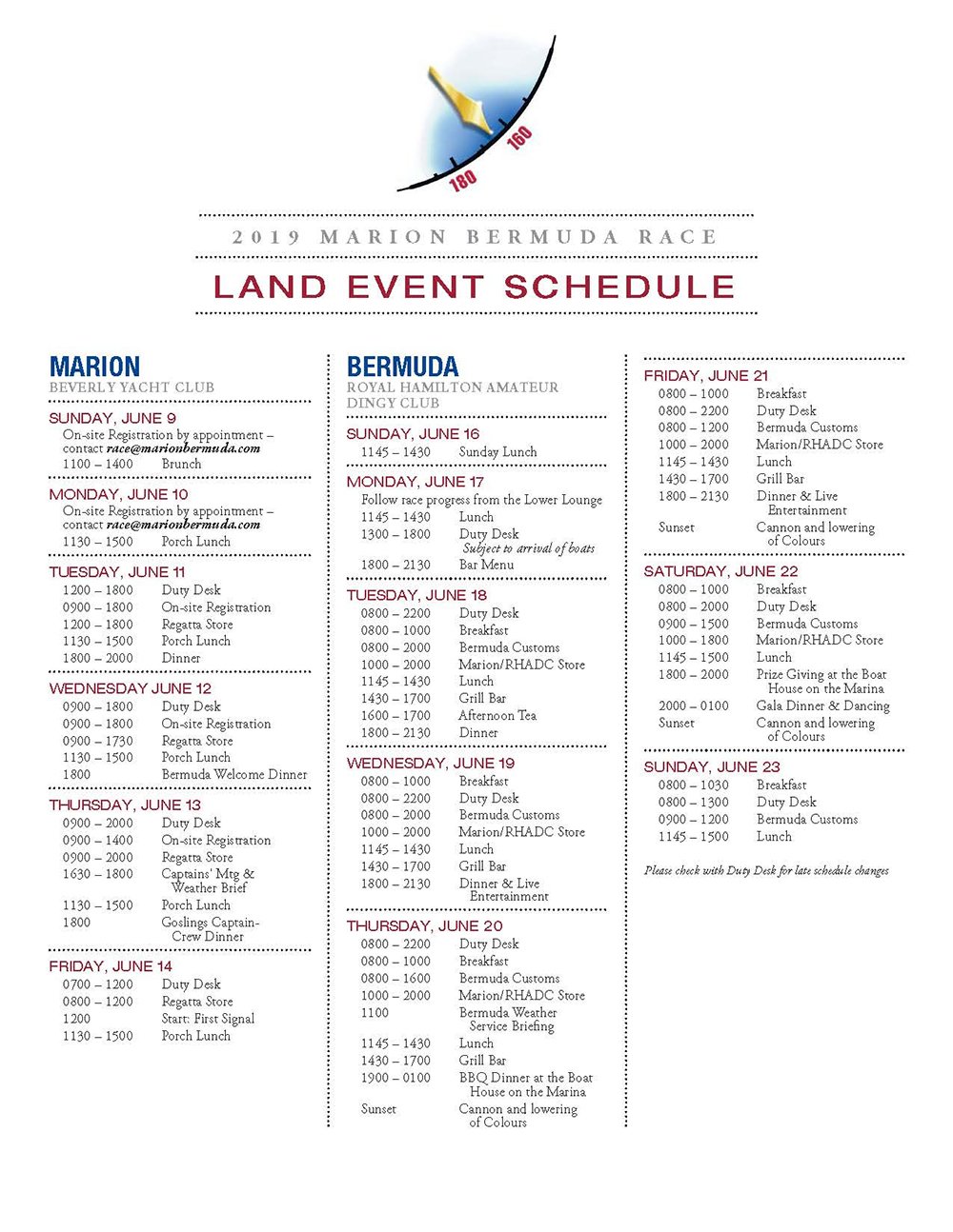 Land Event Schedule Bermuda June 17 2019