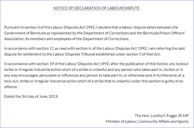 Notice of declaration of Labour Dispute  Government of Bermuda - Google Chrome 632019 64758 PM