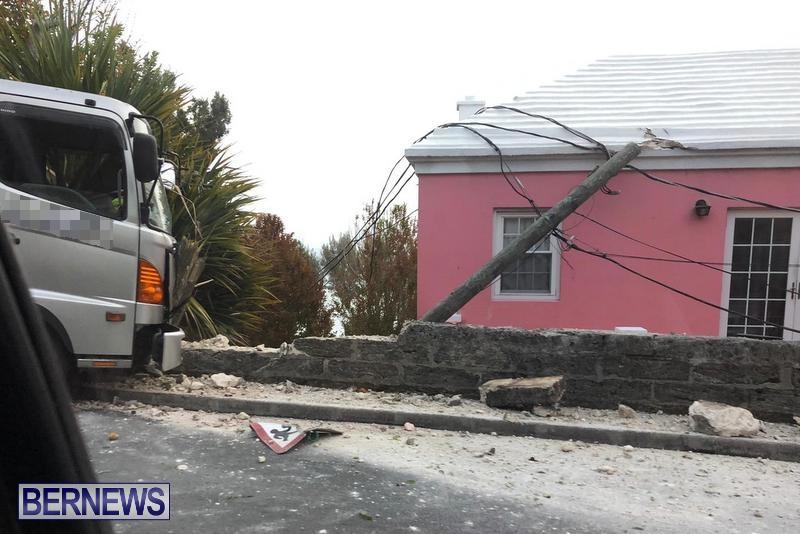 Sanitation Truck Wall Pole Collision Bermuda, June 1 2019
