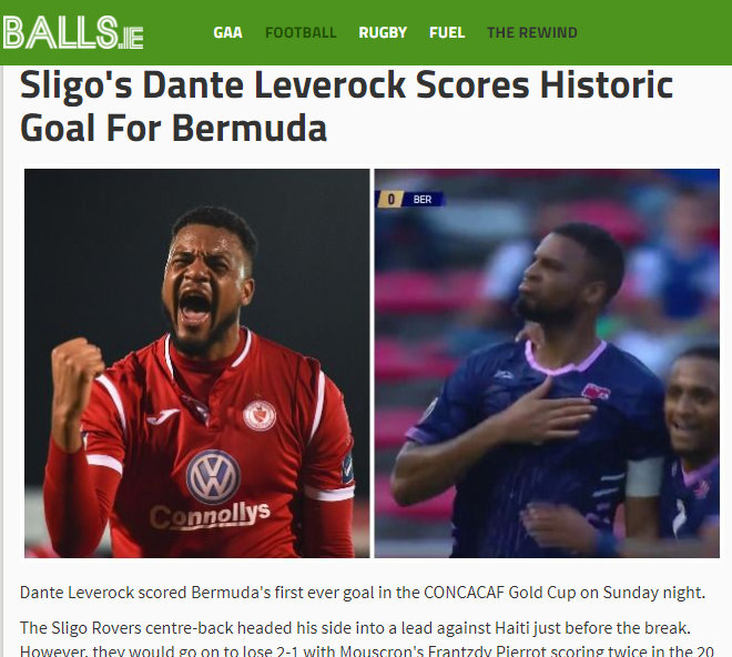 Sligo's Dante Leverock Scores Historic Goal For Bermuda  Balls.ie - Google Chrome 6182019 100305 AM-001