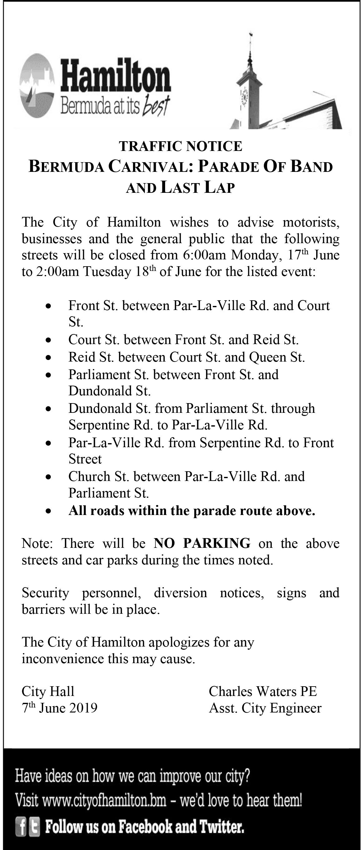 Traffic Notice - Bermuda Carnival Parade Of Bands June 2019